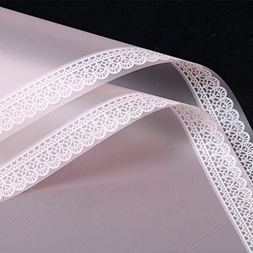 2Pcs Simple Style Lace Border Matte Wrapping Paper Handmade DIY Scrapbook Decorative Paper Birthday Gift Bouquet Wrapping Paper