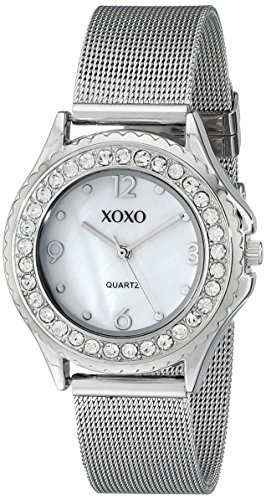 XOXO Women's XO5550 Silver-Tone Rhinestone-Accent Watch with Mesh Bracelet (Silver Mesh Watch Tone)