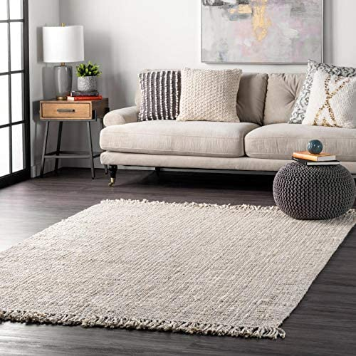 nuLOOM Natura Collection Chunky Loop Jute Rug, 6 x 9 , Off-White