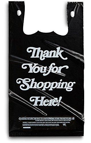 Large Plastic Black Bags 350 Count Extra Heavy Duty 1/6 Grocery Thank You Bags by Focus