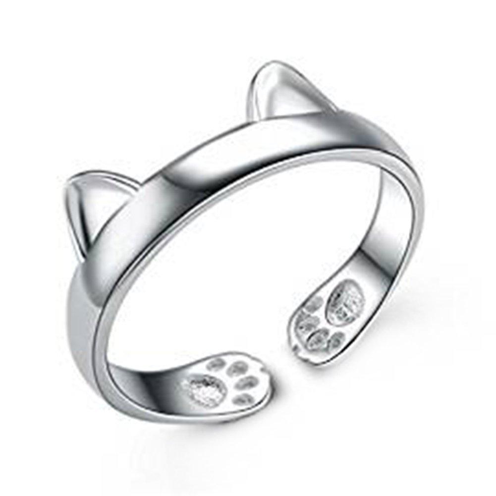 Westeng femelle ouvert Bague réglable Creative Bague en argent Bijoux élégant Forme d'oreille de chat