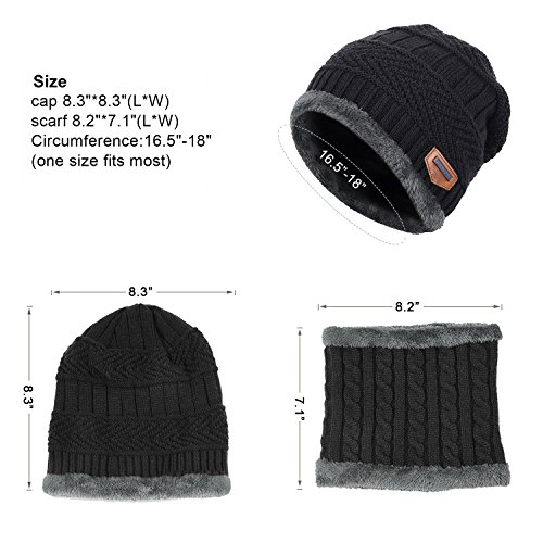 muco Kids Winter Hat Warm Thick Beanie Cap Scarf For Boys Girls Knit Outdoors Ski Beanies by muco (Image #5)