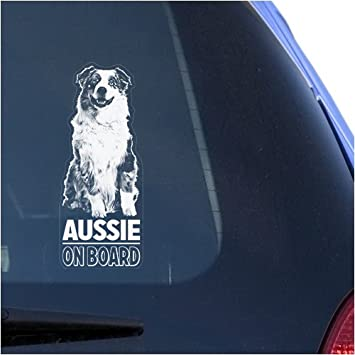 Amazon com aussie clear vinyl decal sticker for window australian shepherd dog sign art print automotive