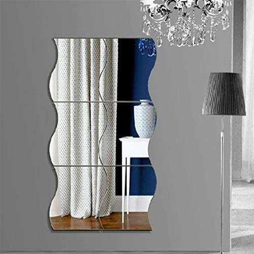 Alimao 1 Set Mirror Wall Stickers Home Decoration DIY Art Wave Mirror Wall Stickers Silver ()