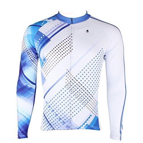 (Uriah Men's Bicycle Jersey Long Sleeve Blue Lights Size M)