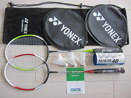 Yonex Badminton Set (2 Racquets, 2 Head Covers, 3 Nylon Shuttlecocks,1 Soft Case)