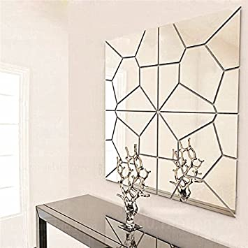 Superieur 7Pcs 1818cm Moire Pattern Quare Mirror Tile Wall Stickers 3D Decal Mosaic  Home Decoration DIY For