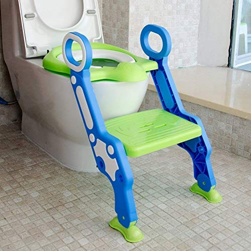 Early Things Company Potty Training seat with Ladder Toddlers Potty Ring for Round and Oval Toilets Includes Faucet Extender Non-Slip Kids Toilet Training Seat Step-Stool Ladder for Kids and Baby