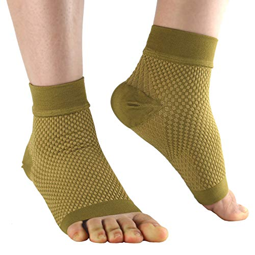 Plantar Fasciitis Sock Copper Compression Foot Sleeves with Ankle and Heel Support Treatment for Men and Women(1Pair) (M)