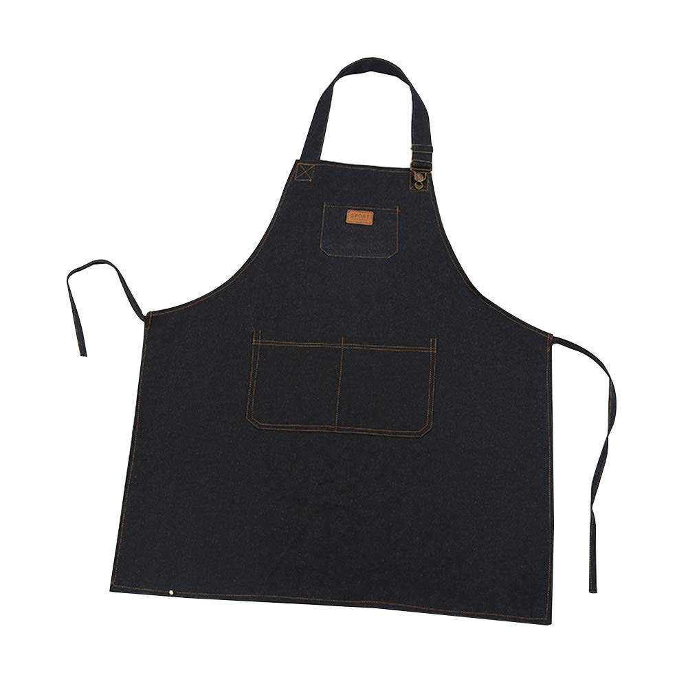 Nikgic. Apron Denim 75 * 68cm Waterproof and Anti-Fouling Hotel Restaurant Kitchen Apron Black and blue