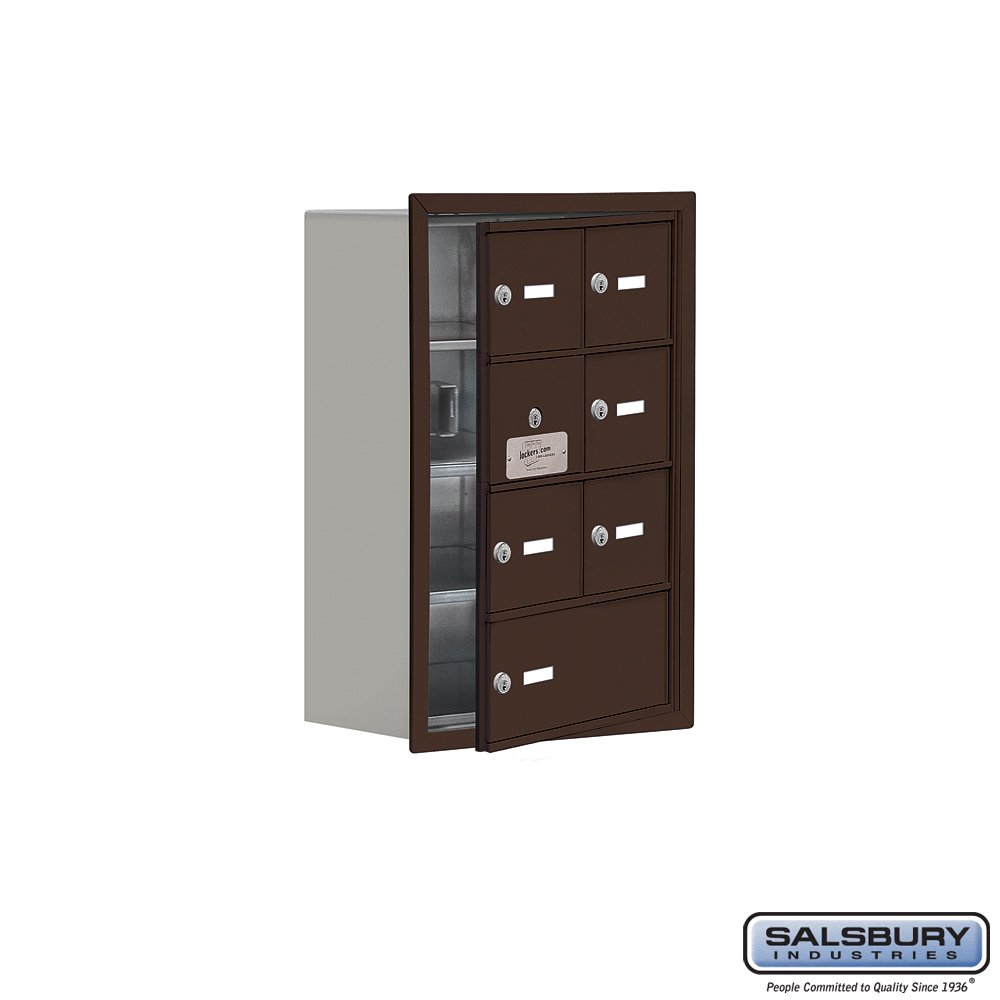 Bronze Salsbury Industries 19148-07ZRK Cell Phone-Access Panel-4 Unit Recessed Mounted-Keyed Locks with 8-Inch Diameter Compartments
