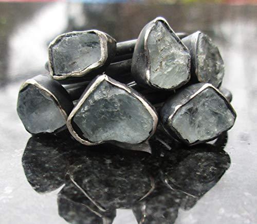 Blue Brazil Aquamarine (Raw Aquamarine Ring Oxidized 925 Sterling Silver March Birthstone Raw Stone Gemstone Ring)