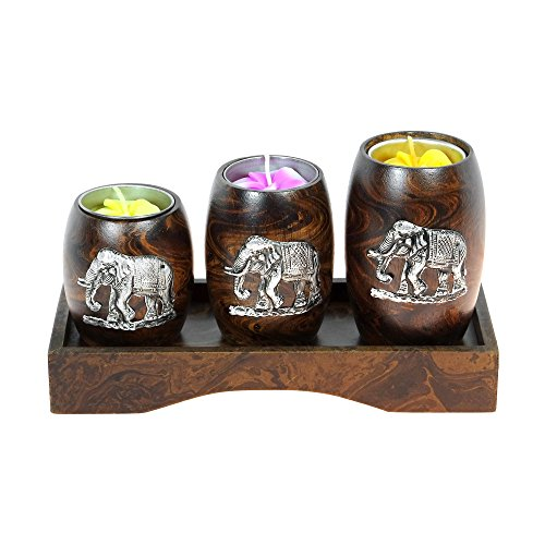 (AeraVida Three Mini Barrel Pewter Elephant Wooden Tea Light Candle Holder Set)