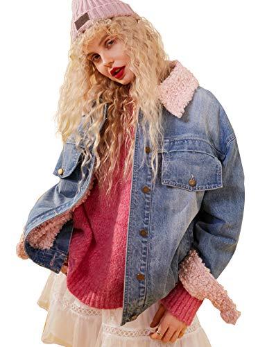(Women Vintage Denim Trucker Jacket, Autumn Winter Thicken Lamb Wool Long Sleeve Pocket Loose Coat Outwear)