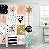 Light Pink and Gold Shower Curtain Emvency Fabric Shower Curtain Curtains with Hooks Christmas Patchwork Snow Deer Star Tree and Message Merry Holidays Blush Pink Gold Black White and Light 72