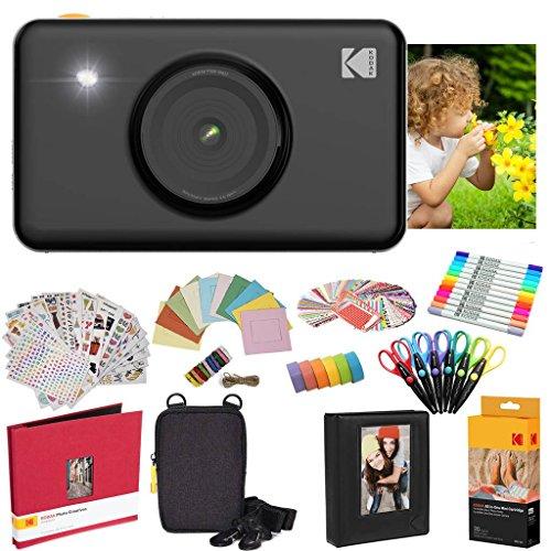 Kodak Mini Shot Instant Camera (Black) All-in-Bundle + Paper (20 Sheets) + Deluxe Case + Photo Album + 7 Unique Sticker Sets + Markers + Scissors + Border Stickers and So Much More