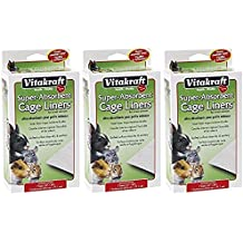 "(3 Packages) VitaKraft Super Absorbent Cage Liners for Small Animals 7 Liners each (16""x28"")"