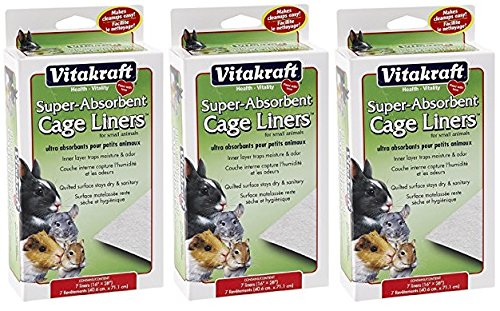 (3 Packages) VitaKraft Super Absorbent Cage Liners for Small Animals 7 Liners each (16