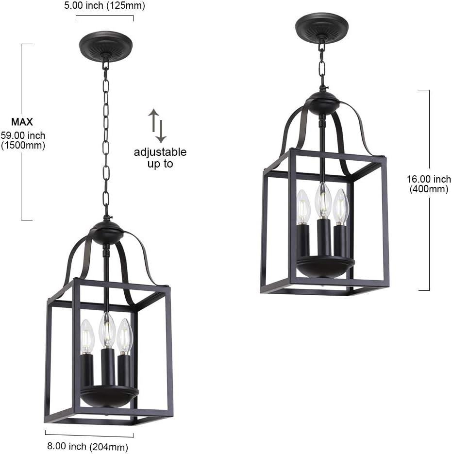 Dining Room Lighting Fixtures Hanging Kitchen Island Lighting Entry Light Fixtures MELUCEE Black Pendant Light 8 Inches Lantern Chandelier Farmhouse 3 Lights E12 Base