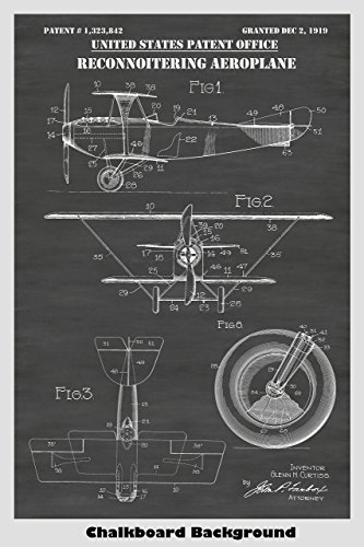 Vintage Military Reconnaissance Biplane Airplane Poster Patent Print Art Poster: Choose From Multiple Size and Background Color ()