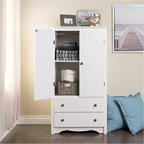 Pemberly Row TV Wardrobe Armoire in White - Tv Armoire Wardrobe