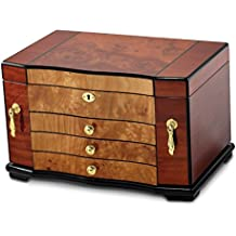 Saris and Things Bubinga w/Elm Burl Inlay 3 Drawer with Swing-out Sides Jewelry Box