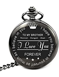 to My Brother Pocket Watch Gifts for Brother Best Gifts for Him Birthday Gifts from Sister, Graduation Gifts for Men (to My Brother)