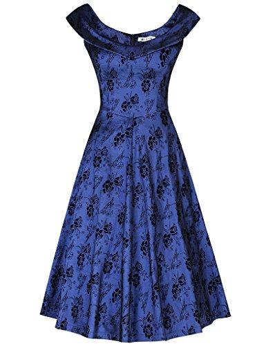 MUXXN Women's Formal V Neck Stretch Short Cocktail Tea Dress (S New Blue)