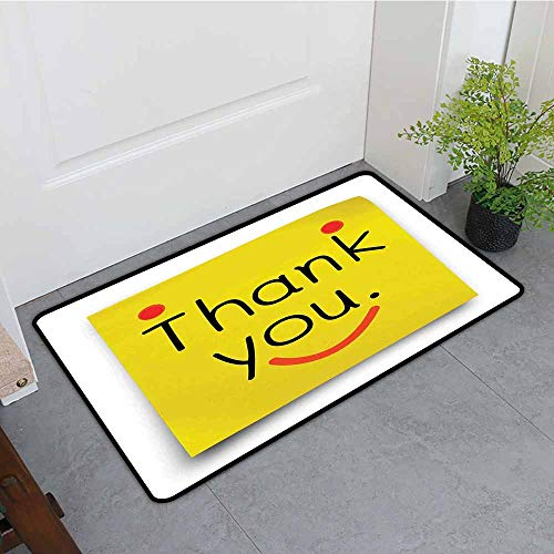 """ONECUTE Outdoor Doormat,Funny Thank You Emoji Icon On Notepaper Sticky Post It Yellow Smiley Face Print,Rustic Home Decor,24""""x16"""" Yellow Orange Black"""