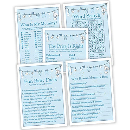 Baby Shower Games for boys, Set of 5 Activities,25 Cards Each, 125 Total,Baby Shower Supplies,Perfect Baby Bump Party Games Or Gender Reveal Games For Kids, Mom, Dad, Women Men Coed Unisex Set.]()