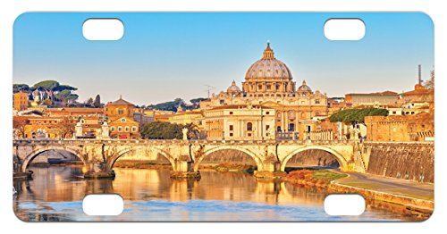 Landmark Monument (Wanderlust Mini License Plate by Lunarable, View at Tiber and St Peter Landmark Monument Sunny Touristic, High Gloss Aluminum Novelty Plate, 2.94 L x 5.88 W Inches, Earth Yellow Sand Brown Blue)