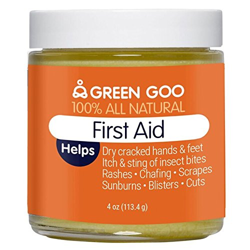 Green Goo Natural Skin Care for Cracked Hands and Feet, Insect Bites, Sunburn, Blisters, First Aid, Jar, 4 Ounce
