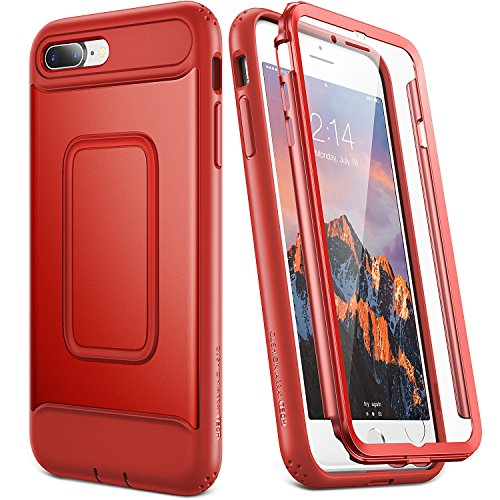 YOUMAKER Case for iPhone 8 Plus & iPhone 7 Plus, Full Body with Built-in Screen Protector Heavy Duty Protection Shockproof Slim Fit Cover for Apple iPhone 8 Plus (2017) 5.5 Inch - Red