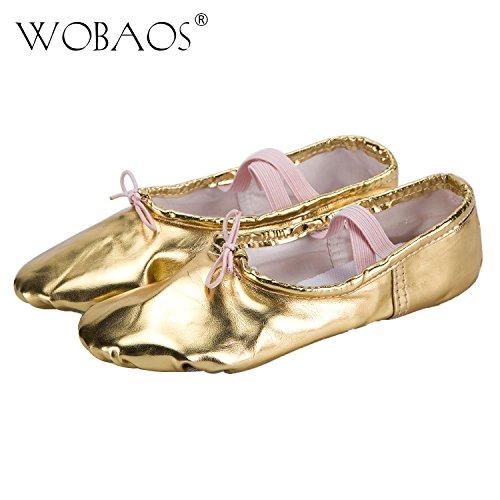 WOBAOS Ballet Slippers Canvas Dance Gymnastics Yoga Shoes Flats for Girls(Women/Big Kid/Little Kid/Toddler)