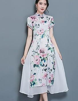 DESY Mujer Línea A Corte Ancho Vestido Casual/Diario Tallas Grandes Vintage Simple,Floral