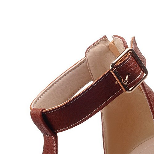 AllhqFashion Women's Solid PU Low heels Open Toe Zipper Wedges-Sandals Brown XTajt