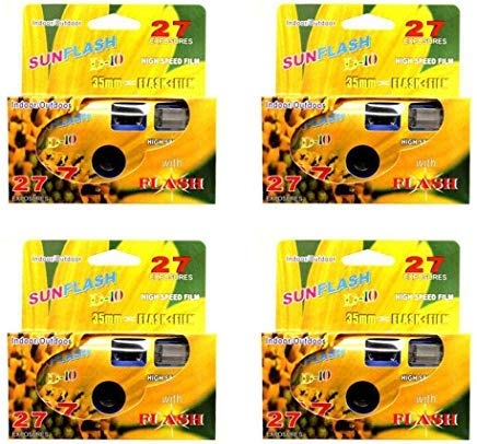 SunFlash Disposable Camera 35mm Film One Time Single Use D-10 Fresh 2020 (4-Pack) by FILM WHOLESALE