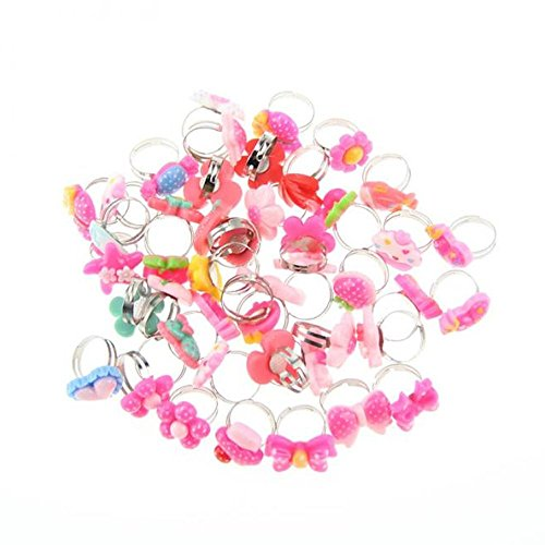 Botrong 50 Pcs Mixed Colors Finger Rings For Kids Flower Adjustable Wedding Rings For Kids Gift (Random (Diy Simple Couple Costumes)