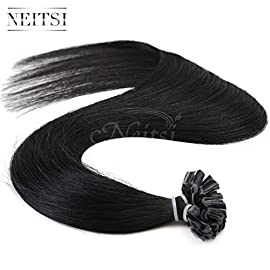 Neitsi 25s/lot 1g/s Jet Black 100% Remy Human Hair Nail U Tip Hair Extension (16inch, 1#)