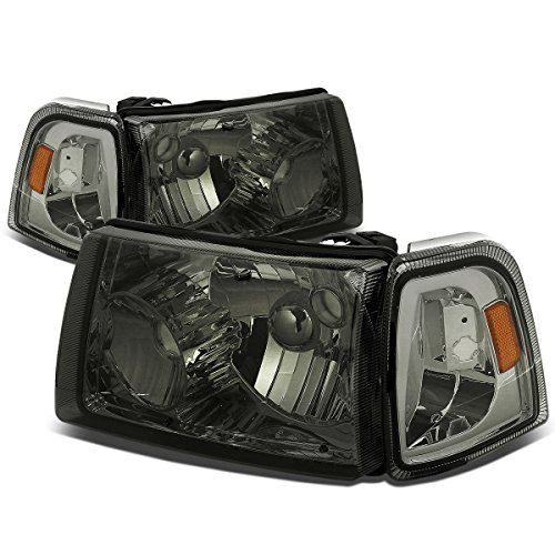 For Ford Ranger 4Pcs Smoked Lens Amber Corner Headlight+Corner Lights Kit Replacement