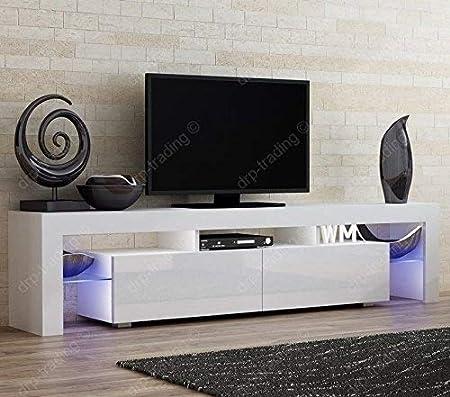Modern Tv Unit 200cm Cabinet White Matt And White High Gloss Free
