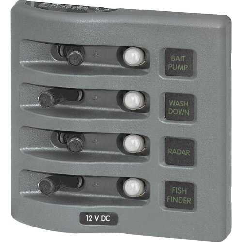 Weatherdeck Water Resistant Panel Labels - 1 - Blue Sea 4374 WeatherDeck Water Resistant Circuit Breaker Panel - 4 Position - Grey