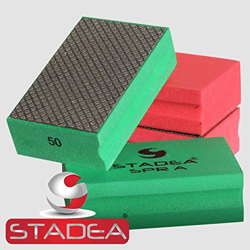 Grit Diamond Hand Pad - STADEA Diamond Hand Polishing Pad Electroplated Grit 50 for Granite Concrete Terazzo Polishing