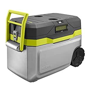 Ryobi 50 qt. Wheeled Cordless Air Conditioned Cooling Cooler with On-Board Storage Compartment, P102 Battery and Charger