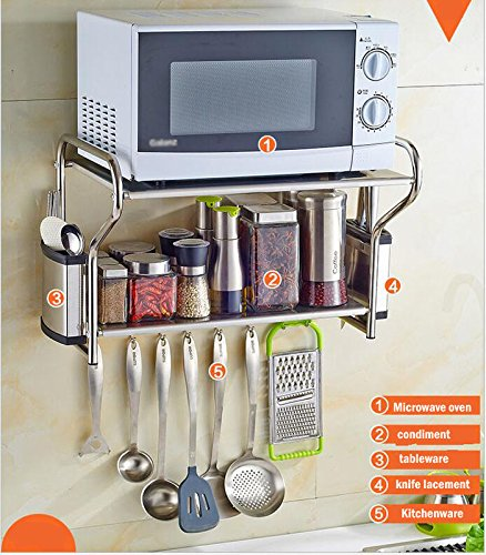 2 Layer Stainless Steel Microwave Oven Wall Mount Shelf With Removable(item#020148)