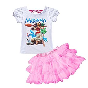 AOVCLKID Moana Little Girls' 2Pcs Suit Cartoon Shirt and Skirt Set (Pink,100/2-3Y)