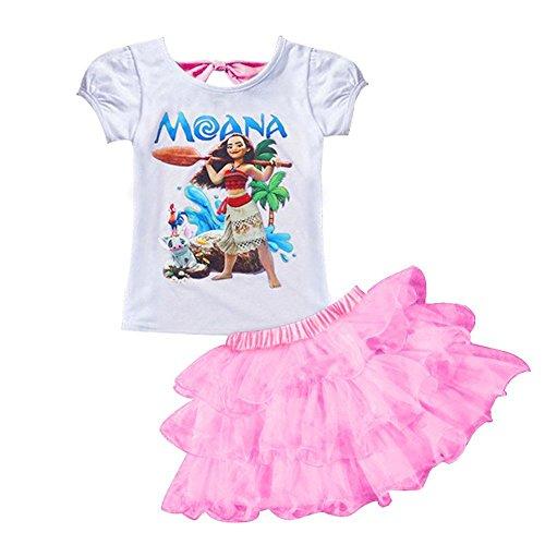 AOVCLKID Moana Little Girls' 2Pcs Suit Cartoon Shirt