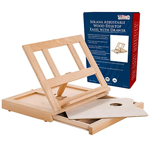 U.S. Art Supply Solana Adjustable Wood Desk Table Easel with Storage Drawer