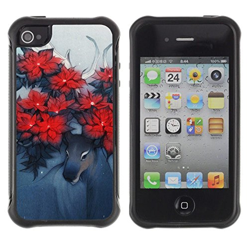 Apple Iphone 4 / 4S - Deer Art Horns Forest Nature Flowers Red