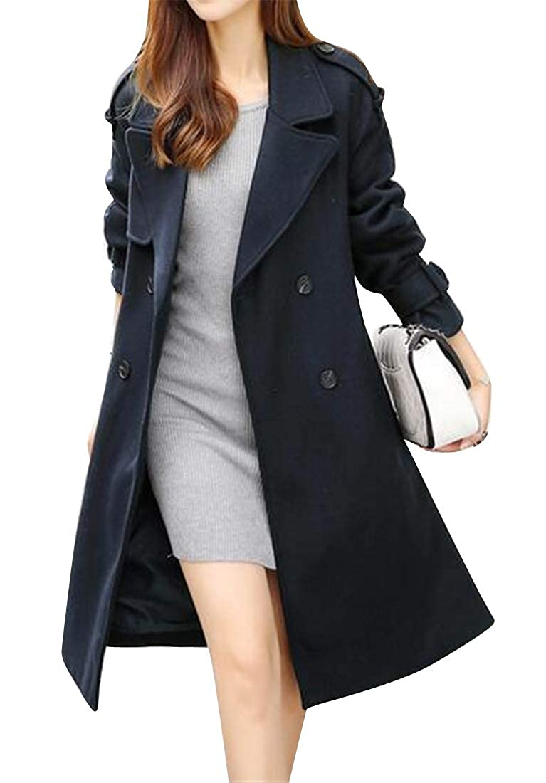 2 Jofemuho Womens Slim Winter Double Breasted Wool Wlend Trench Pea Coat Jacket Overcoat